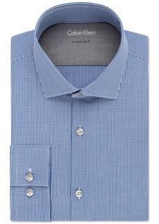 Calvin Klein Men's X Tall Extra-Slim Fit Stretch Blue Check Dress Shirt