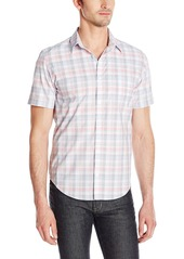 Calvin Klein Men's Yarn Dye Even Square Plaid Short Sleeve Button Down Shirt
