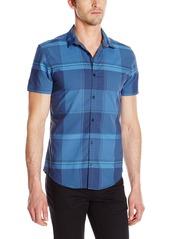Calvin Klein Men's Yarn Dye Scale Check Short Sleeve Button Down Shirt