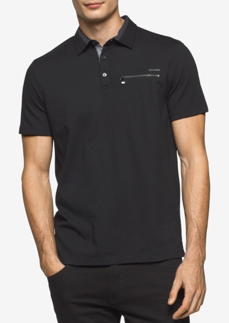 Calvin klein calvin klein men 39 s liquid cotton zip pocket for Men s cotton polo shirts with pocket