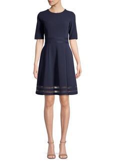 Calvin Klein Mesh Short-Sleeve A-Line Dress