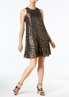 Calvin Klein Metallic Animal-Print Chiffon Dress