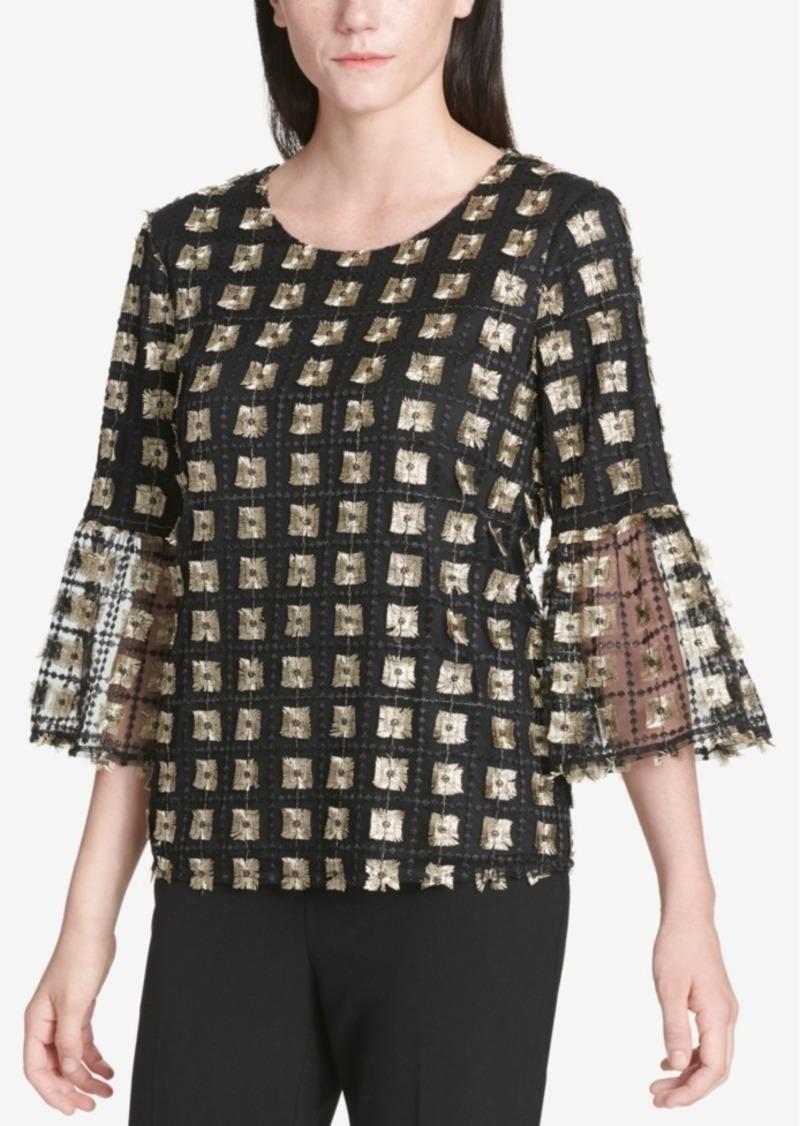 Calvin Klein Metallic Bell-Sleeve Top