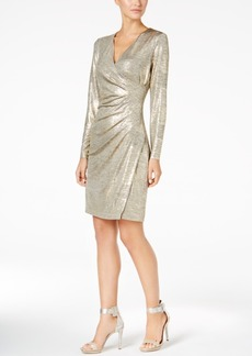 Calvin Klein Metallic Faux-Wrap Dress, Regular & Petite Sizes, A Macy's Exclusive Style