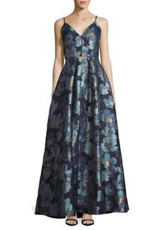 Calvin Klein Metallic Floral Ball Gown