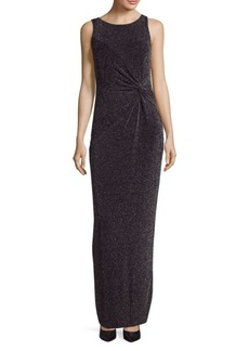 Calvin Klein Metallic Knit Floor-Length Gown