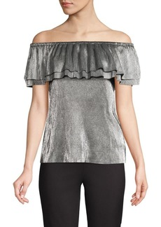 Calvin Klein Metallic Off-The-Shoulder Top