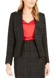 Calvin Klein Metallic Tweed Open-Front Blazer