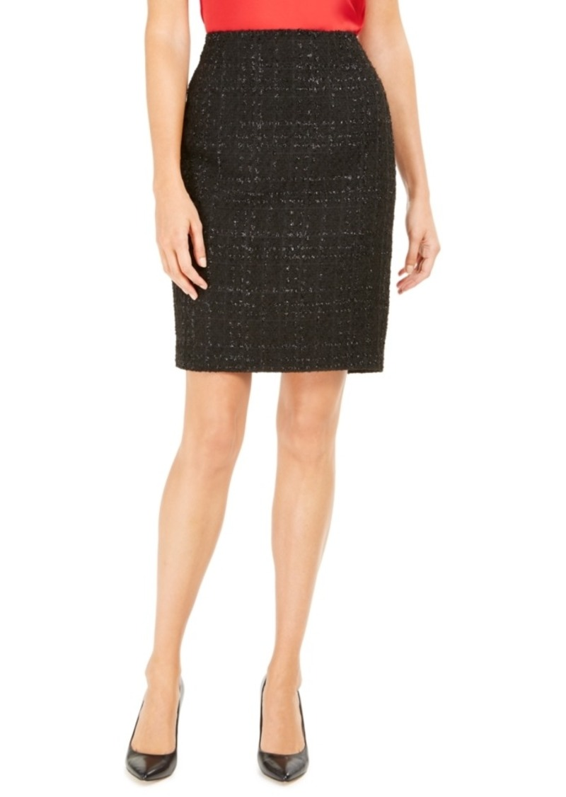 Calvin Klein Metallic Tweed Pencil Skirt