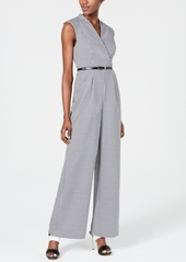 Calvin Klein Mini-Check Belted Jumpsuit