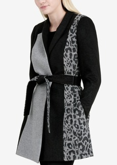Calvin Klein Mix-Media Wrap Coat