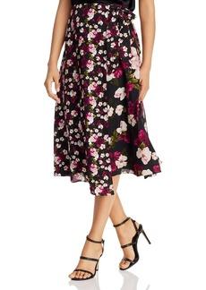Calvin Klein Mixed-Floral Faux-Wrap Skirt