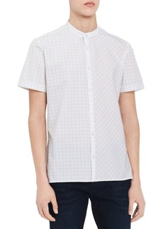 Calvin Klein Mixed-Grid Mandarin-Collar Shirt