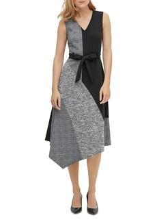 Calvin Klein Mixed-Media Asymmetric Belted Dress