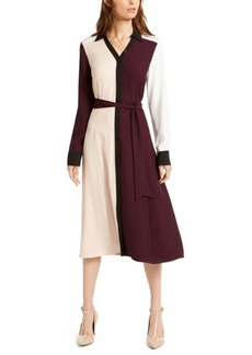 Calvin Klein Mixed-Media Colorblocked Shirtdress