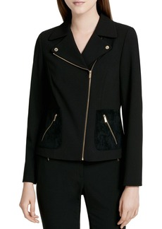 Calvin Klein Mixed Media Moto Jacket