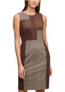 Calvin Klein Mixed-Media Plaid Sheath Dress