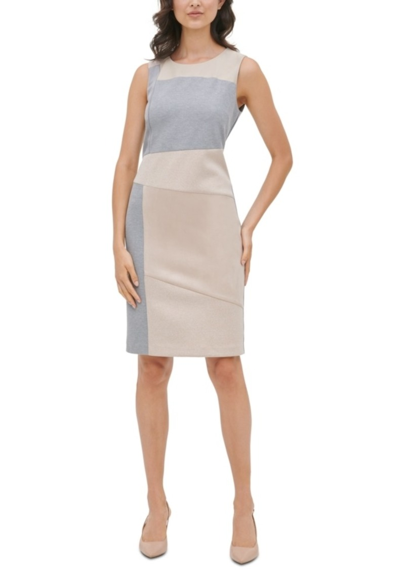 Calvin Klein Mixed-Media Sheath Dress