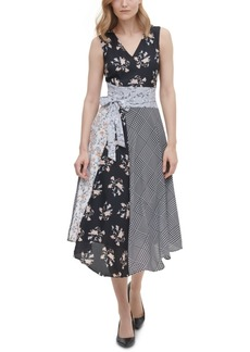 Calvin Klein Mixed-Print Belted Dress