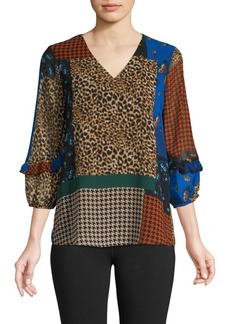 Calvin Klein Mixed-Print V-Neck Top