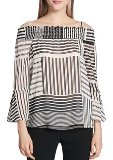 Calvin Klein Mixed Stripe Off-the-Shoulder Top