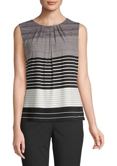Calvin Klein Mixed Stripe Sleeveless Blouse