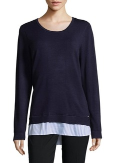 Mock-Layer Roundneck Sweater