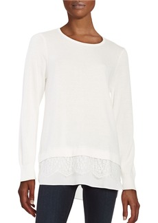 CALVIN KLEIN Mock-Layered Lace-Trim Sweater
