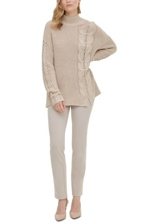 Calvin Klein Mock-Neck Cable-Knit Sweater