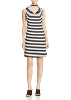 Calvin Klein Mock Neck Cutout Stripe Dress