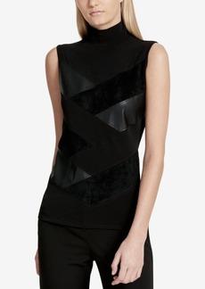 Calvin Klein Mock-Neck Pieced Top