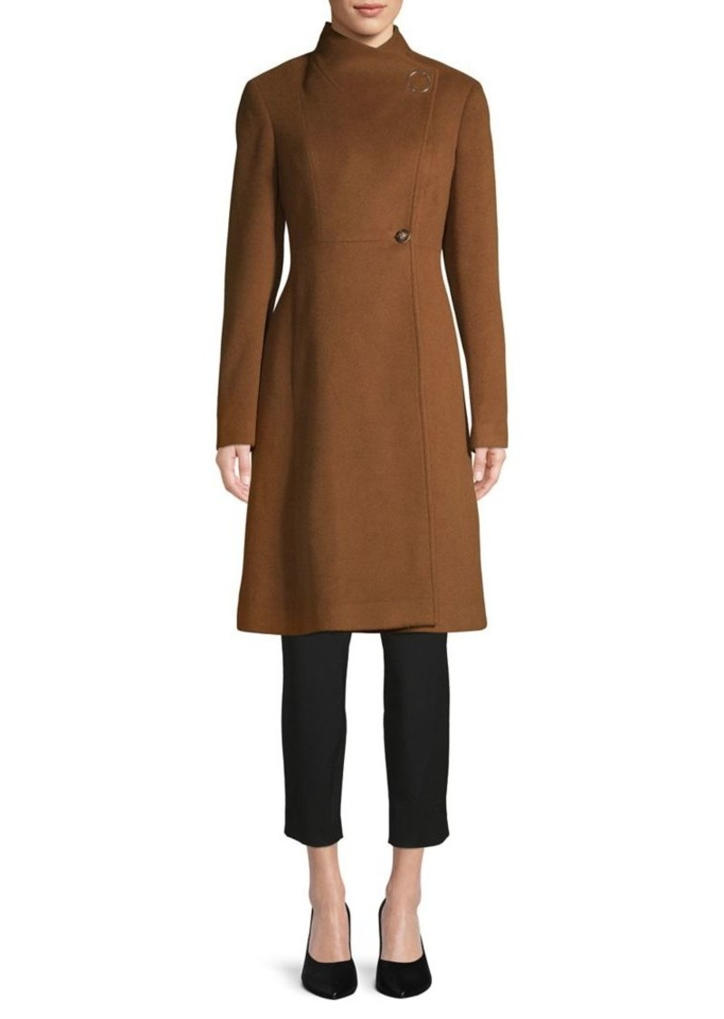 Calvin Klein Mockneck Wool-Blend Coat