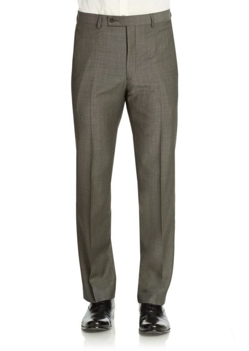 Calvin Klein Classic-Fit Flat-Front Wool Suit Separate Pants