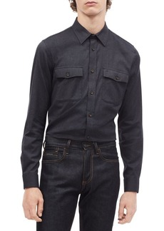 Calvin Klein Modern-Fit Stretch Flannel Button-Down Shirt