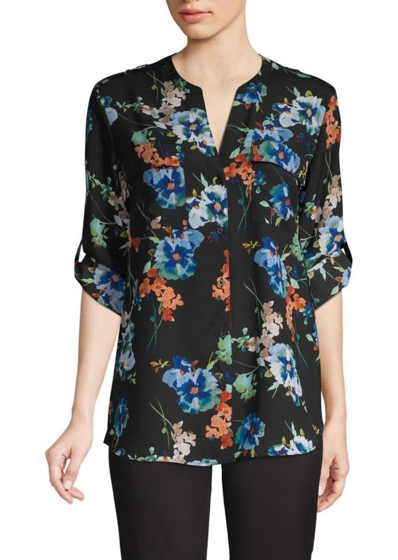 Calvin Klein Moody Floral-Print Split-Neck Shirt