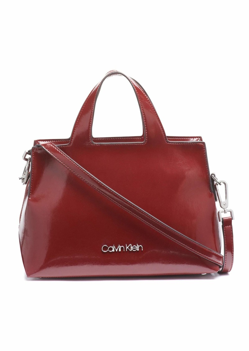 Calvin Klein Neat Glazed Patent Statement Satchel country Red