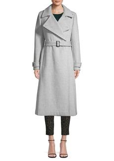 Calvin Klein Notch-Collar Wool Blend Wrap Coat