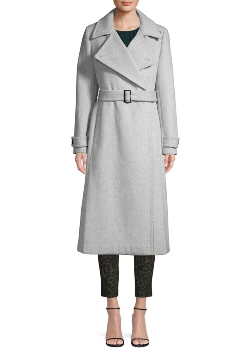 Calvin Klein Notch-Collar Wool Blend Wrap Coat