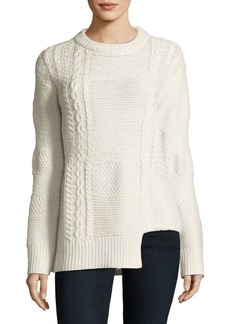 Calvin Klein Jeans Notch-Hem Cable-Knit Sweater