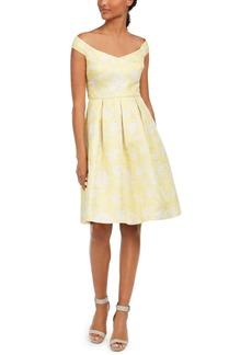 Calvin Klein Off-The-Shoulder Brocade Dress