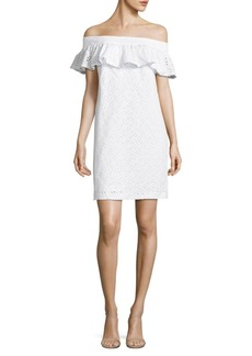 Calvin Klein Off-the-Shoulder Eyelet Dress