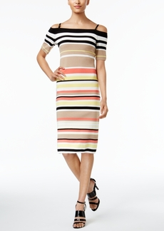 Calvin Klein Off-The-Shoulder Striped Sweater Dress