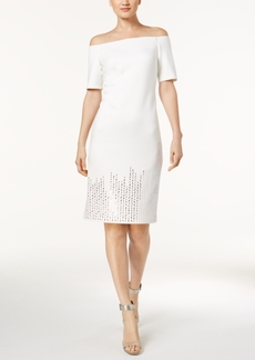 Calvin Klein Off-The-Shoulder Studded Sheath Dress