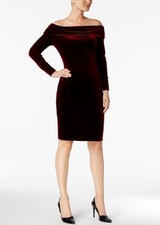 Calvin Klein Off-The-Shoulder Velvet Sheath Dress