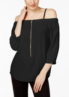Calvin Klein Off-The-Shoulder Zip-Front Top
