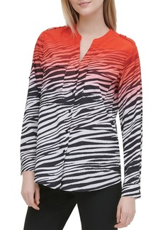 Calvin Klein Ombr� Zebra-Print Button-Down Top
