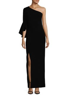Calvin Klein One-Shoulder Flutter-Sleeve Column Dress