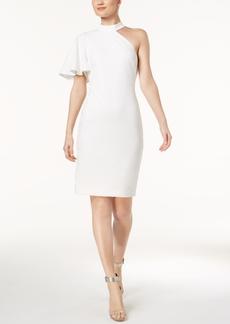 Calvin Klein One-Shoulder Mock-Neck Sheath Dress