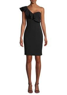 Calvin Klein One-Shoulder Ruffled Sheath Dress