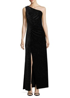 One-Shoulder Sparkling Velvet Gown